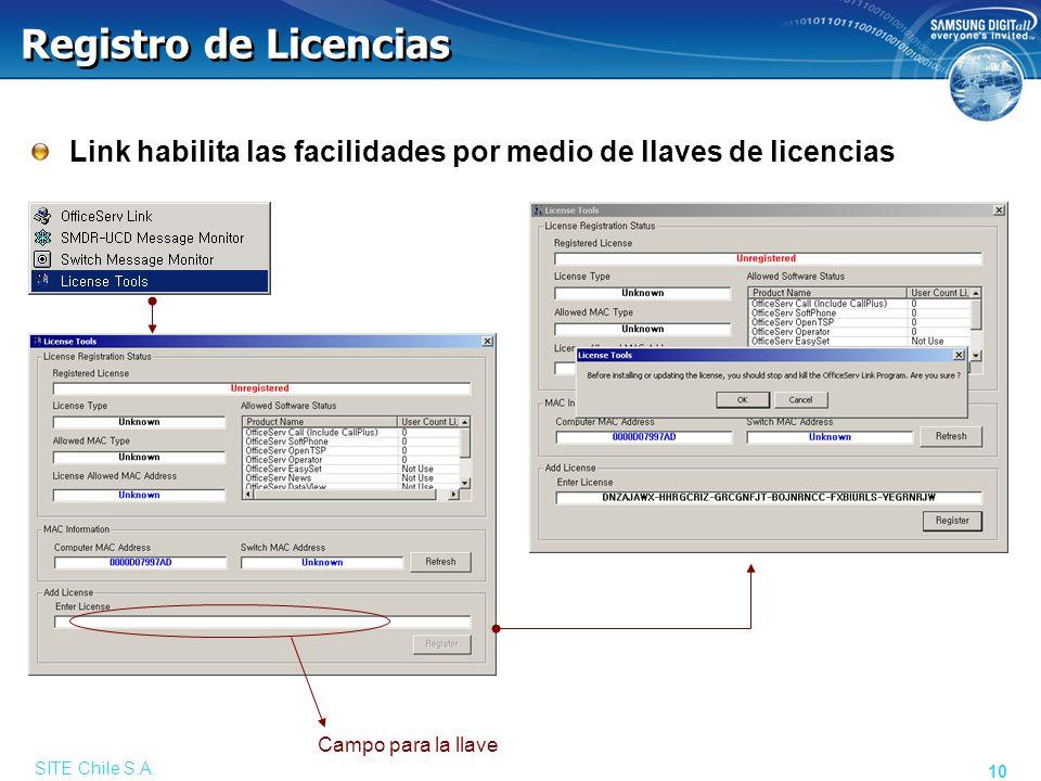 SITE Chile S.A. 10 Registro de Licencias Link habilita las facilidades por medio de llaves de licencias Campo para la llave