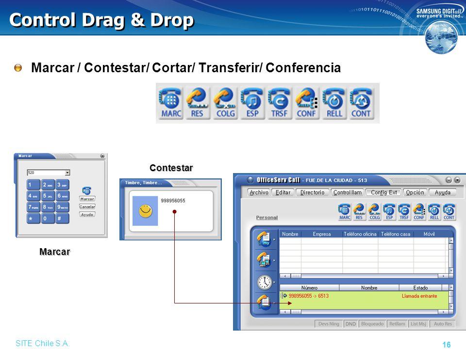 SITE Chile S.A. 16 Control Drag & Drop Marcar / Contestar/ Cortar/ Transferir/ Conferencia Contestar Marcar