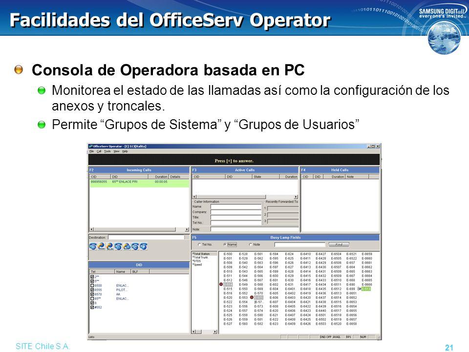 SITE Chile S.A. 21 Facilidades del OfficeServ Operator Consola de Operadora basada en PC Monitorea el estado de las llamadas así como la configuración