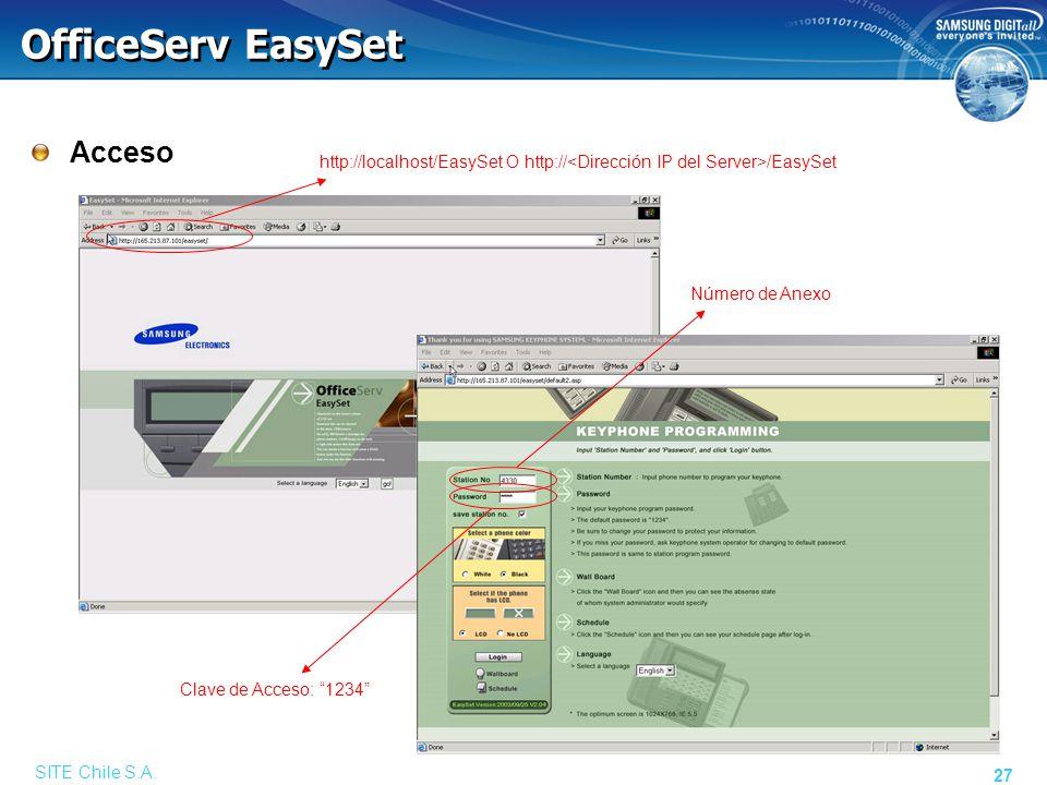 SITE Chile S.A. 27 OfficeServ EasySet Acceso http://localhost/EasySet O http:// /EasySet Número de Anexo Clave de Acceso: 1234