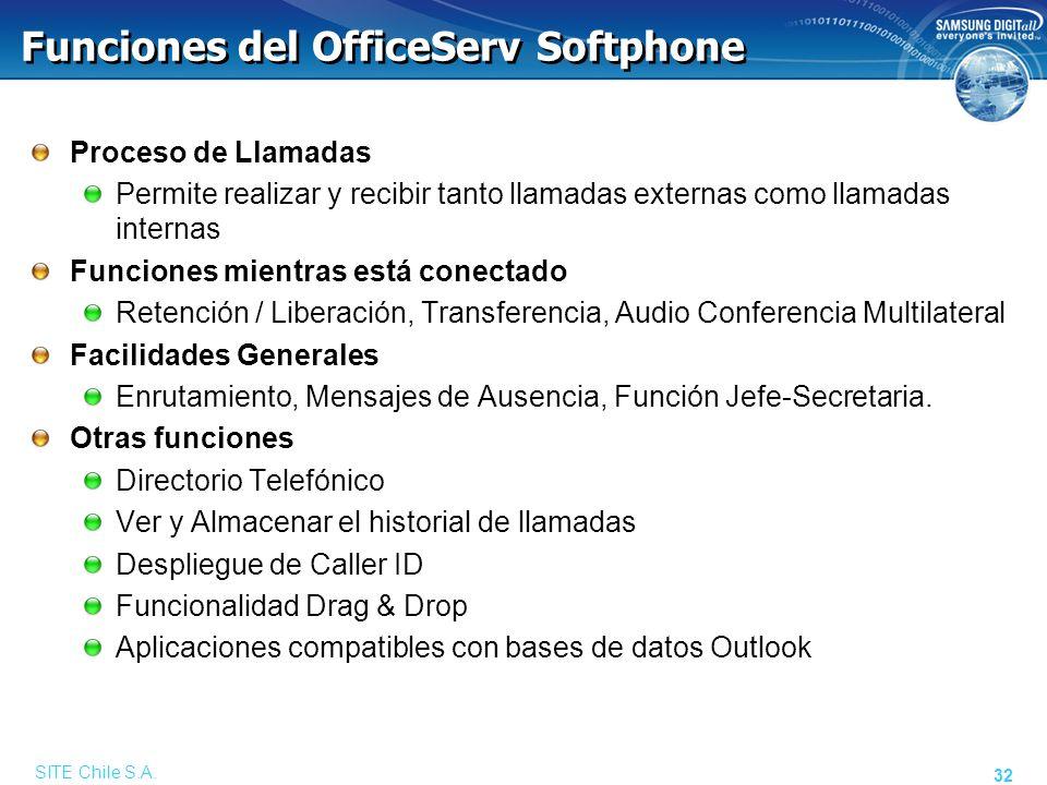 SITE Chile S.A. 32 Funciones del OfficeServ Softphone Proceso de Llamadas Permite realizar y recibir tanto llamadas externas como llamadas internas Fu