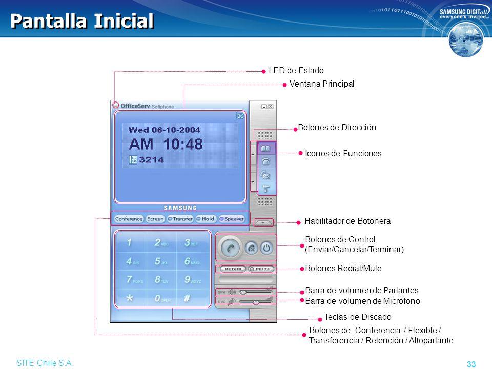 SITE Chile S.A. 33 Pantalla Inicial Barra de volumen de Parlantes Ventana Principal LED de Estado Botones de Dirección Iconos de Funciones Habilitador