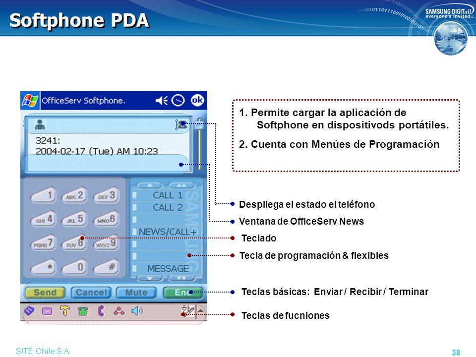 SITE Chile S.A. 38 1. Permite cargar la aplicación de Softphone en dispositivods portátiles. 2. Cuenta con Menúes de Programación Softphone PDA Despli