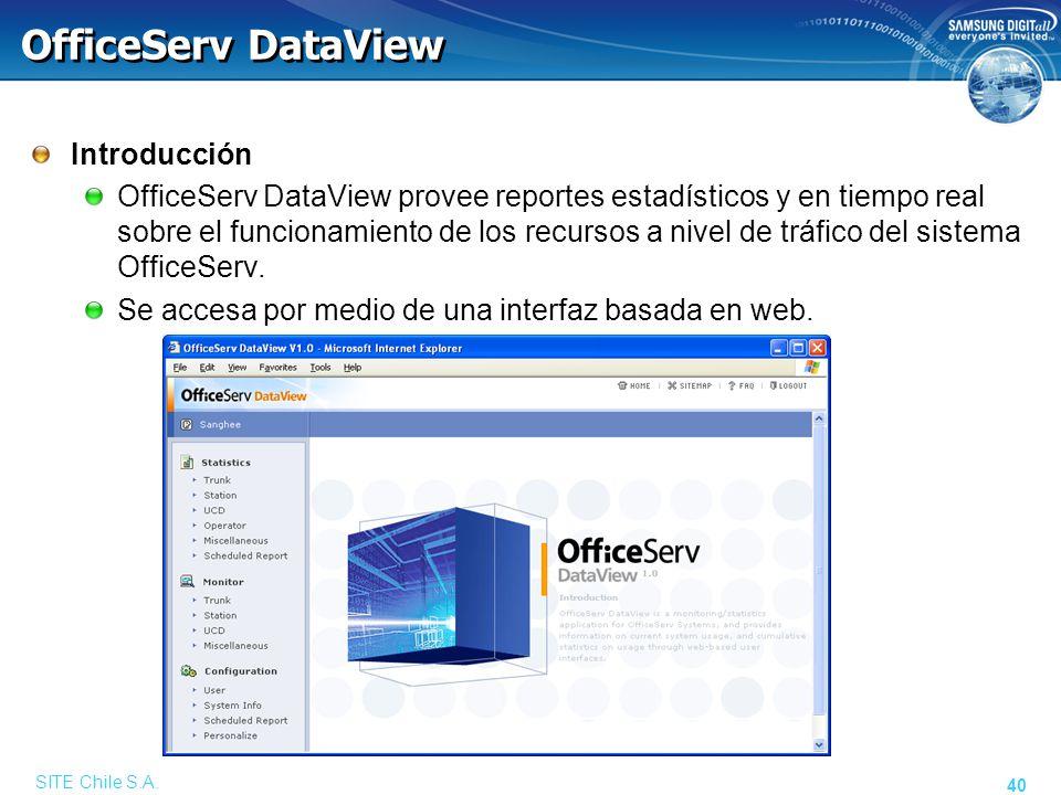 SITE Chile S.A. 40 OfficeServ DataView Introducción OfficeServ DataView provee reportes estadísticos y en tiempo real sobre el funcionamiento de los r