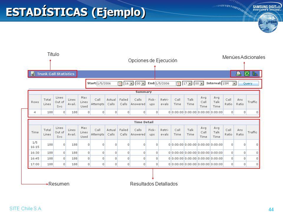SITE Chile S.A. 44 ESTADÍSTICAS (Ejemplo) Opciones de Ejecución Título Resultados Detallados Resumen Menúes Adicionales