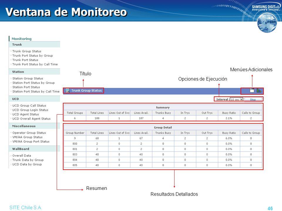 SITE Chile S.A. 46 Ventana de Monitoreo Menúes Adicionales Título Opciones de Ejecución Resumen Resultados Detallados