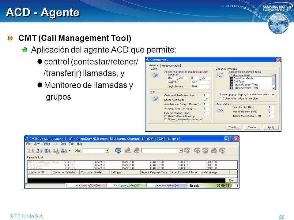 SITE Chile S.A. 55 ACD - Agente CMT (Call Management Tool) Aplicación del agente ACD que permite: control (contestar/retener/ /transferir) llamadas, y