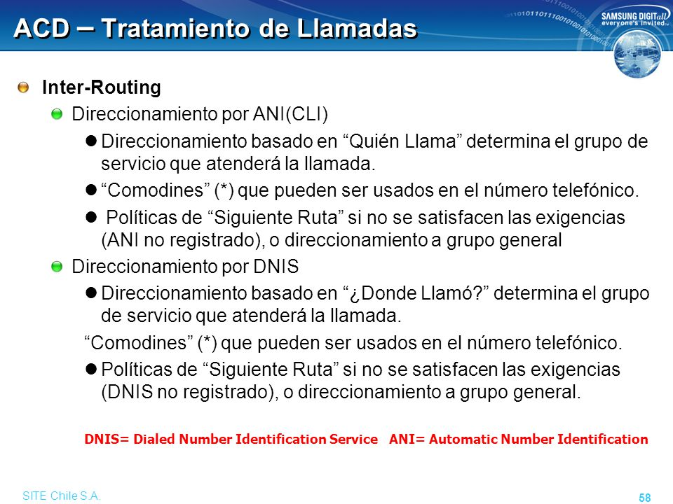 SITE Chile S.A. 58 ACD – Tratamiento de Llamadas Inter-Routing Direccionamiento por ANI(CLI) Direccionamiento basado en Quién Llama determina el grupo