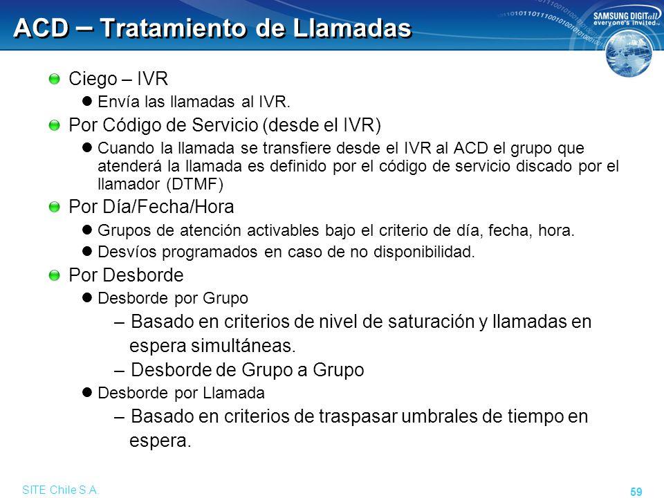 SITE Chile S.A. 59 ACD – Tratamiento de Llamadas Ciego – IVR Envía las llamadas al IVR. Por Código de Servicio (desde el IVR) Cuando la llamada se tra