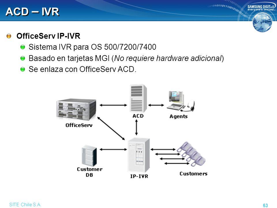 SITE Chile S.A. 63 ACD – IVR OfficeServ IP-IVR Sistema IVR para OS 500/7200/7400 Basado en tarjetas MGI (No requiere hardware adicional) Se enlaza con