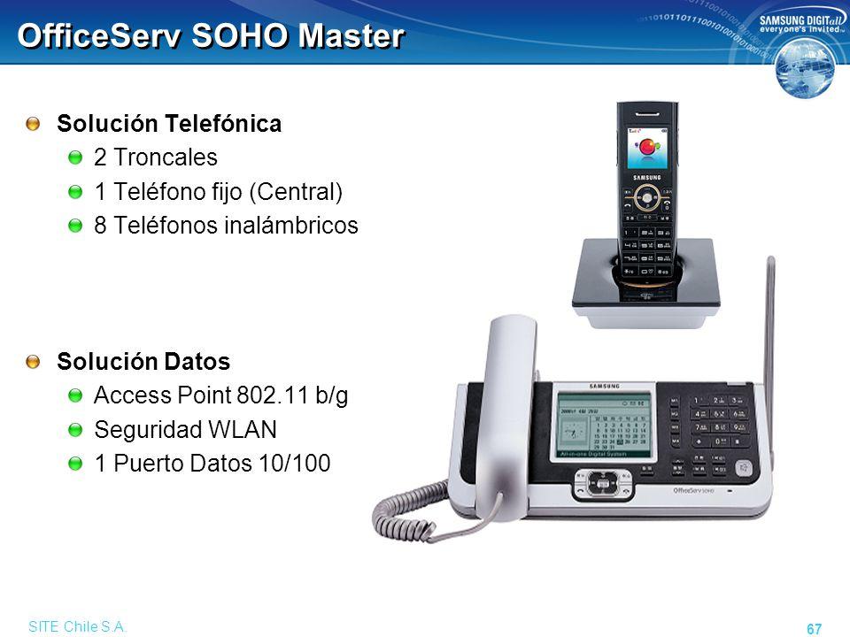 SITE Chile S.A. 67 OfficeServ SOHO Master Solución Telefónica 2 Troncales 1 Teléfono fijo (Central) 8 Teléfonos inalámbricos Solución Datos Access Poi