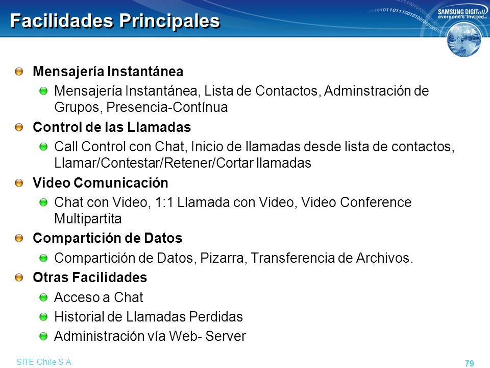 SITE Chile S.A. 79 Facilidades Principales Mensajería Instantánea Mensajería Instantánea, Lista de Contactos, Adminstración de Grupos, Presencia-Contí