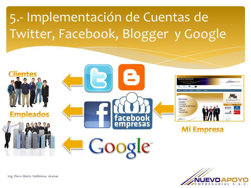 5.- Implementación de Cuentas de Twitter, Facebook, Blogger y Google Ing. Piero Mario Valdivieso Arenas