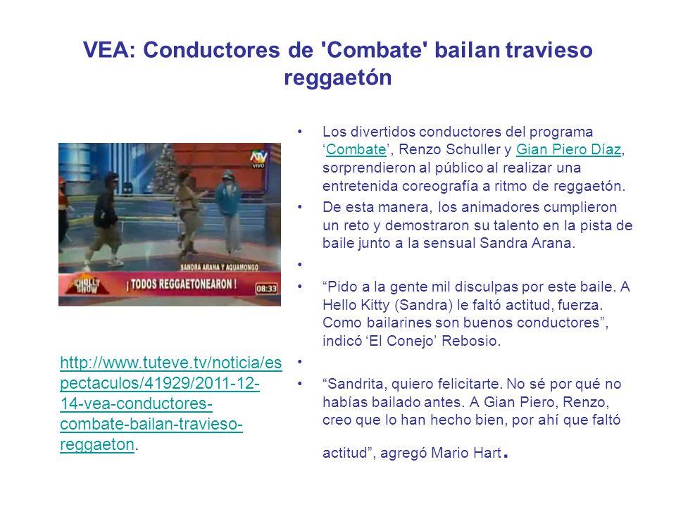 VEA: Conductores de 'Combate' bailan travieso reggaetón Los divertidos conductores del programaCombate, Renzo Schuller y Gian Piero Díaz, sorprendiero