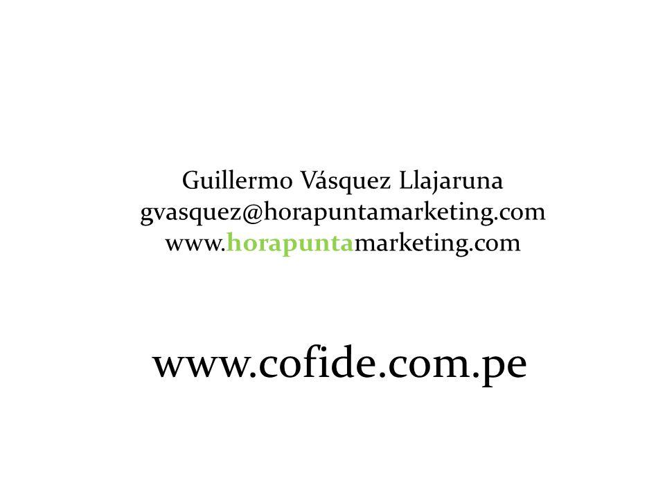 Guillermo Vásquez Llajaruna gvasquez@horapuntamarketing.com www.horapuntamarketing.com www.cofide.com.pe