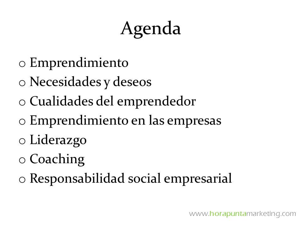 Agenda o Emprendimiento o Necesidades y deseos o Cualidades del emprendedor o Emprendimiento en las empresas o Liderazgo o Coaching o Responsabilidad
