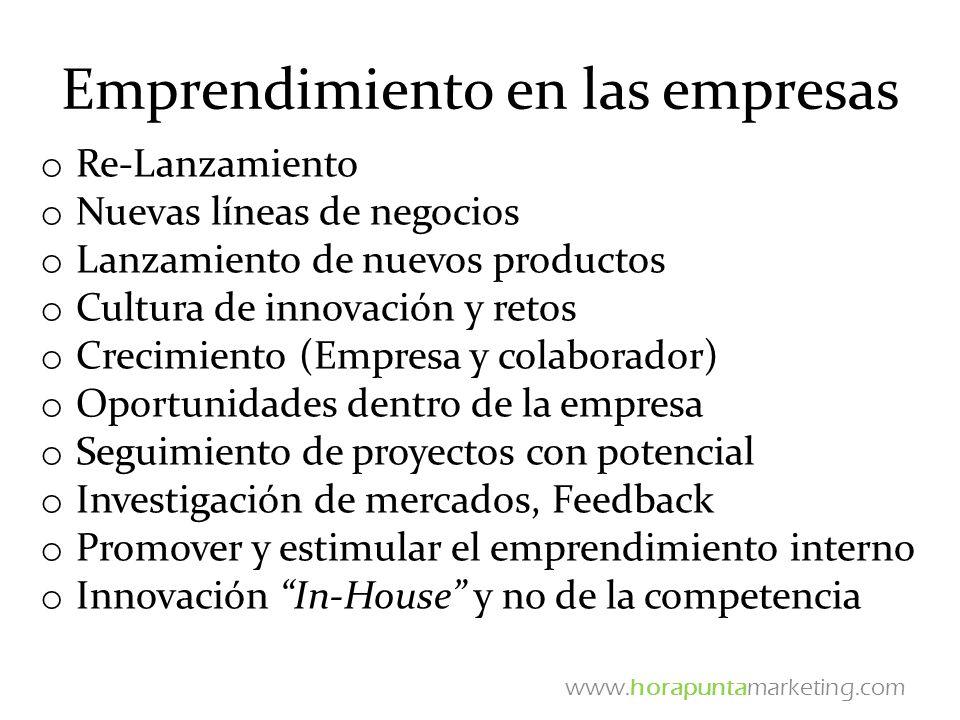 Emprendimiento en las empresas o Re-Lanzamiento o Nuevas líneas de negocios o Lanzamiento de nuevos productos o Cultura de innovación y retos o Crecim