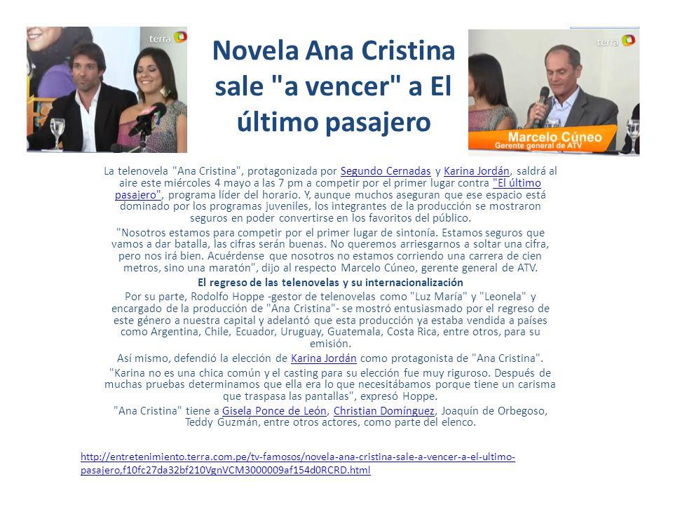 Novela Ana Cristina sale