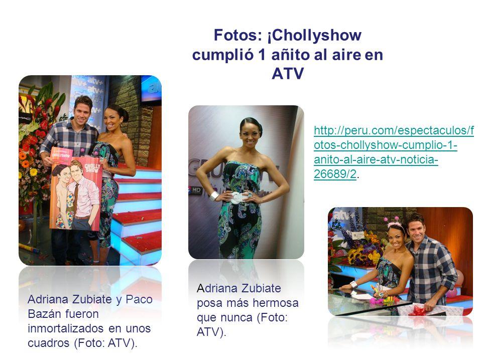 Fotos: ¡Chollyshow cumplió 1 añito al aire en ATV Adriana Zubiate y Paco Bazán fueron inmortalizados en unos cuadros (Foto: ATV). Adriana Zubiate posa