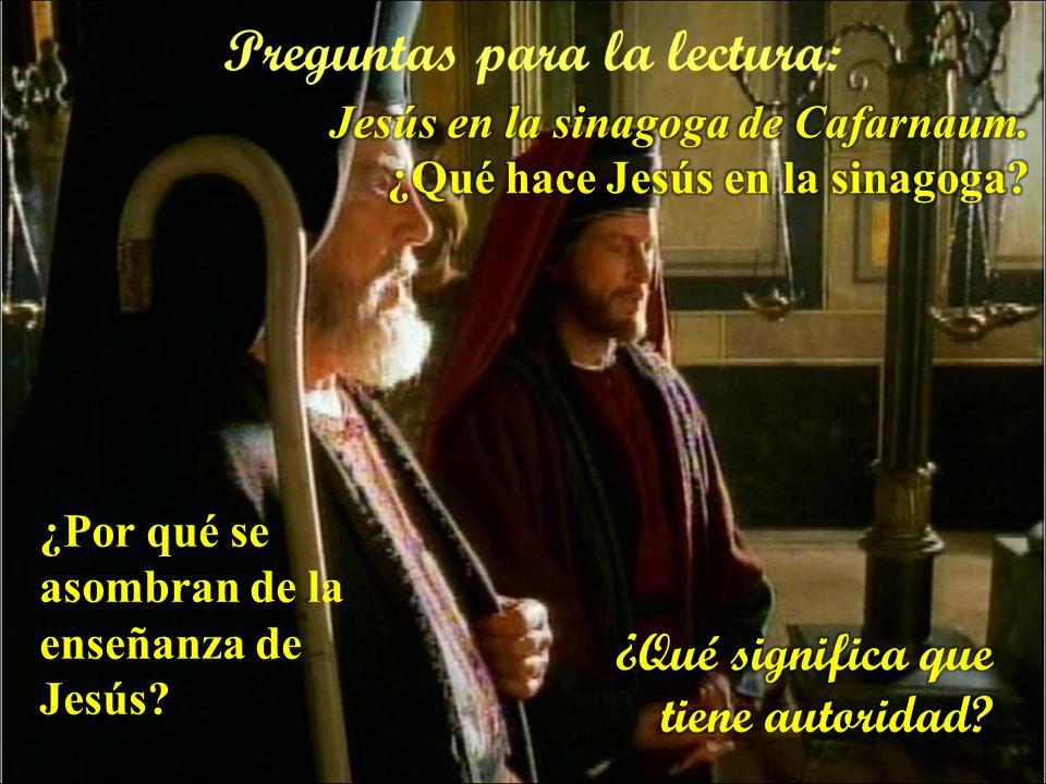 Cada uno puede leer en voz alta el versículo que más le llamó la atención En aquel tiempo, Jesús y sus discípulos: Llegaron a Cafarnaún y, cuando lleg