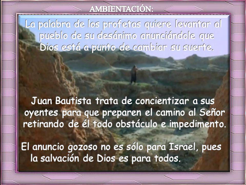 Ambientación: Pesebre vacío, sobre el que se pone una biblia abierta. 2 cirios con la frase: Todos verán la salvación de Dios. Cantos sugeridos: Ven,