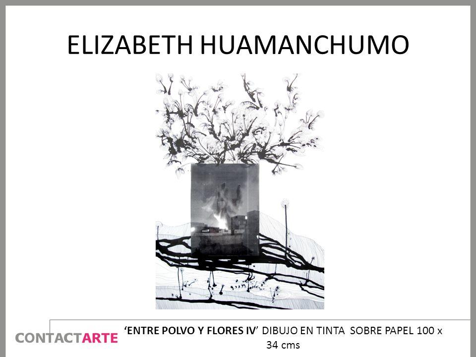 ELIZABETH HUAMANCHUMO ENTRE POLVO Y FLORES IV DIBUJO EN TINTA SOBRE PAPEL 100 x 34 cms