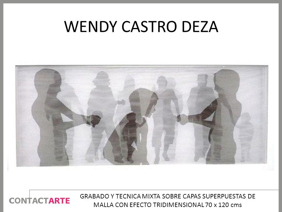 WENDY CASTRO DEZA GRABADO Y TECNICA MIXTA SOBRE CAPAS SUPERPUESTAS DE MALLA CON EFECTO TRIDIMENSIONAL 70 x 120 cms