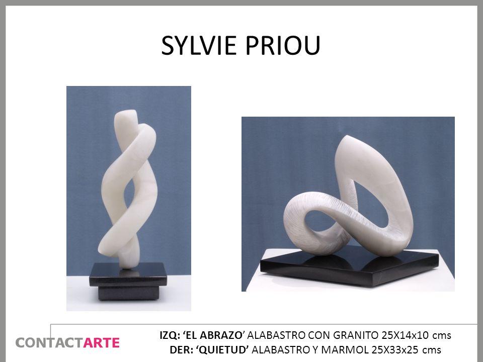 SYLVIE PRIOU IZQ: EL ABRAZO ALABASTRO CON GRANITO 25X14x10 cms DER: QUIETUD ALABASTRO Y MARMOL 25X33x25 cms