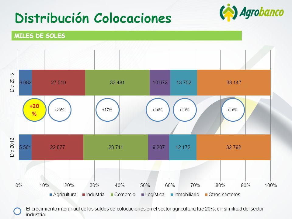 MILES DE SOLES Distribución Colocaciones +20 % +17% +16%+13%+16% El crecimiento interanual de los saldos de colocaciones en el sector agricultura fue 20%, en similitud del sector industria.