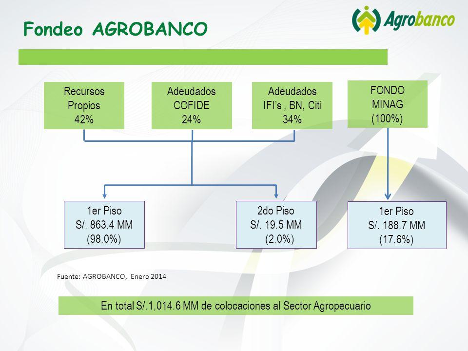 Recursos Propios 42% Adeudados COFIDE 24% En total S/.1,014.6 MM de colocaciones al Sector Agropecuario Fuente: AGROBANCO, Enero 2014 1er Piso S/.