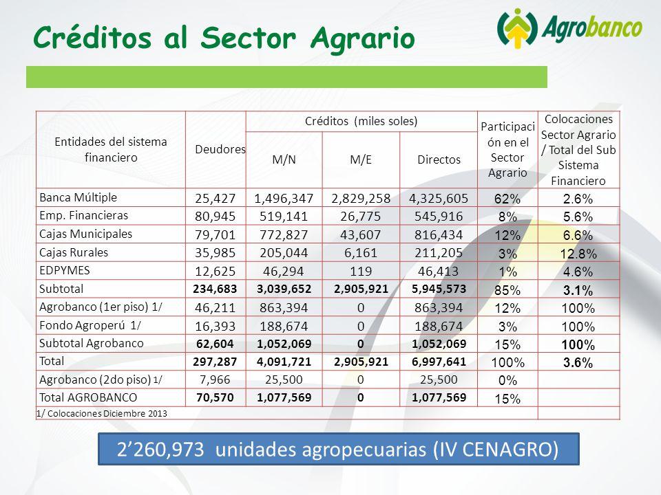 2260,973 unidades agropecuarias (IV CENAGRO) Créditos al Sector Agrario Entidades del sistema financiero Deudores Créditos (miles soles) Participaci ón en el Sector Agrario Colocaciones Sector Agrario / Total del Sub Sistema Financiero M/NM/EDirectos Banca Múltiple 25,4271,496,3472,829,2584,325,605 62%2.6% Emp.