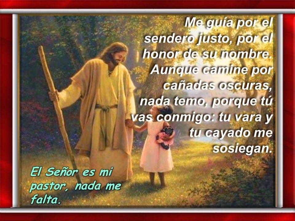 Salmo 22 Salmo 22 El Señor es mi pastor, nada me falta: en praderas me hace recostar, me conduce hacia fuentes tranquilas y repara mis fuerzas. El Señ