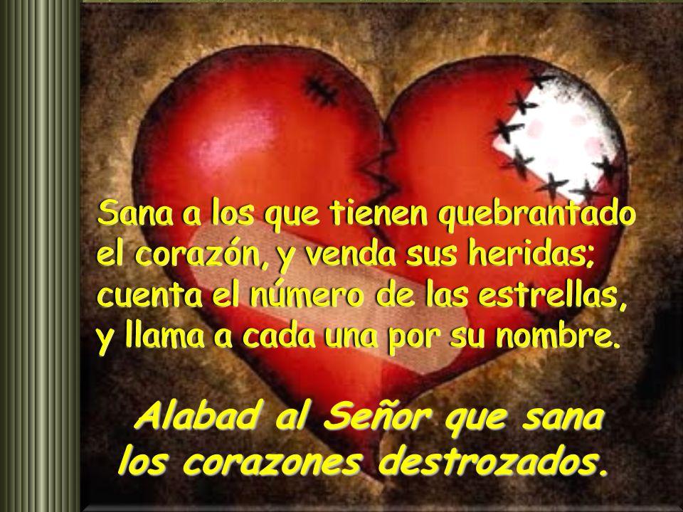 Salmo 146 Alabad al Señor que sana los corazones destrozados. Alabad al Señor que sana los corazones destrozados. Alabad al Señor que sana los corazon