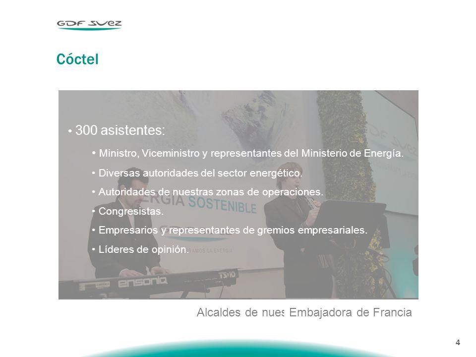 4 Cóctel Junto al Ministro de Energía Alcaldes de nuestras zonas de operación Embajadora de Francia 300 asistentes: Ministro, Viceministro y representantes del Ministerio de Energía.