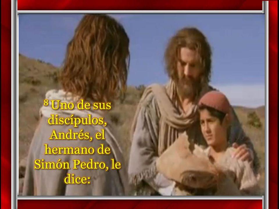 7 Felipe le contestó: – «Doscientos denarios no bastan para que a cada uno le toque un pedazo de pan».