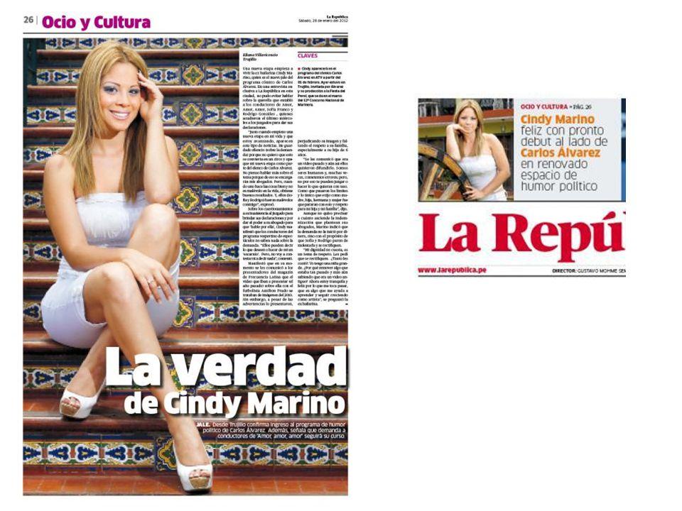 La verdad de Cindy Marino Una nueva etapa empieza a vivir la ex bailarina Cindy Marino, quien es el nuevo jale del programa cómico de Carlos Álvarez.