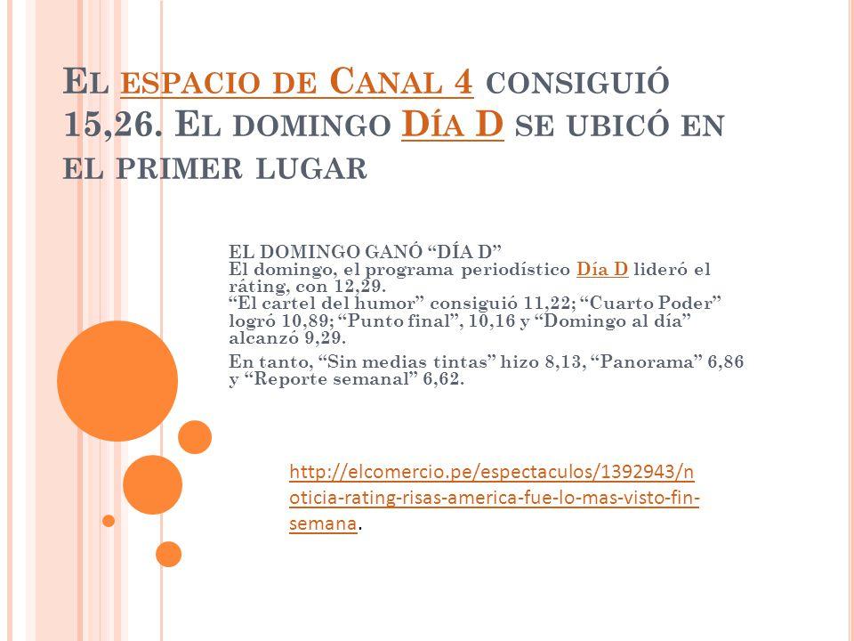 E L ESPACIO DE C ANAL 4 CONSIGUIÓ 15,26.