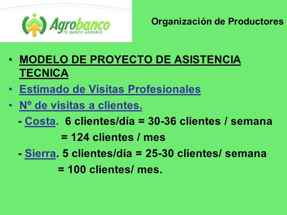 Organización de Productores MODELO DE PROYECTO DE ASISTENCIA TECNICA Estimado de Visitas Profesionales Nº de visitas a clientes.