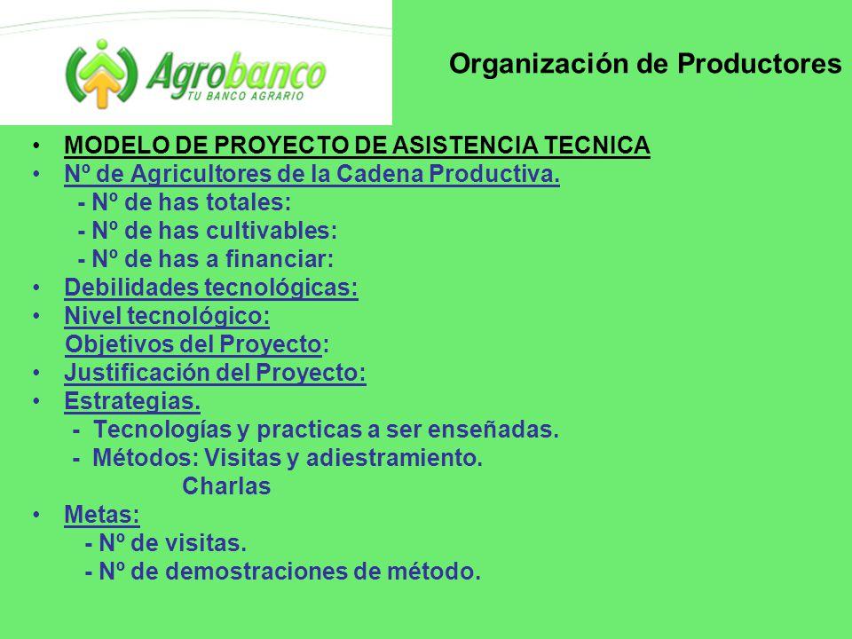 Organización de Productores MODELO DE PROYECTO DE ASISTENCIA TECNICA Nº de Agricultores de la Cadena Productiva.