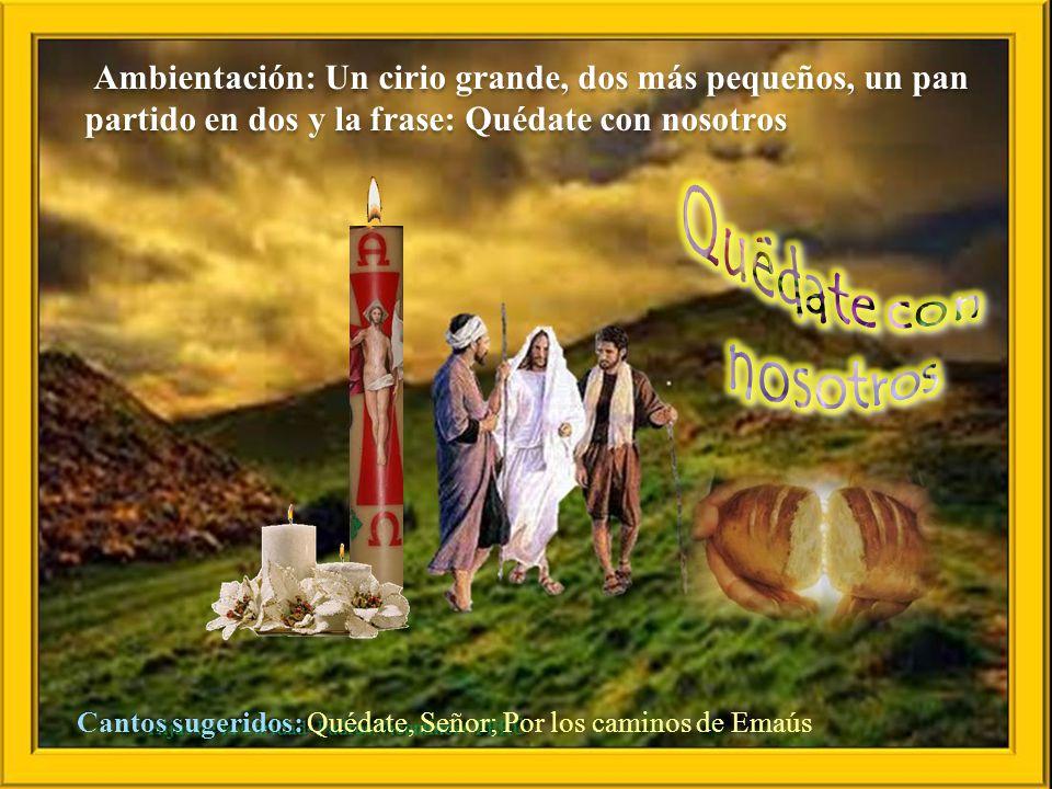 Lc 24: 13-35 Dos discípulos de Jesús iban andando aquel mismo día, el primero de la semana, a un pueblo llamado Emaús, distante unos once kilómetros de Jerusalén; Iban comentando todo lo que había sucedido.