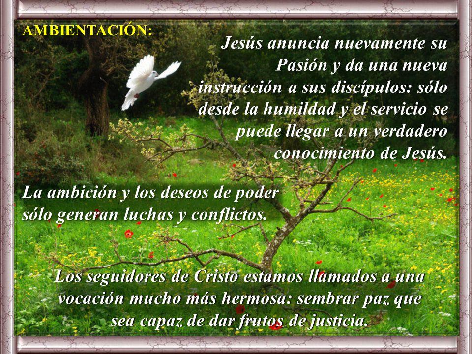Jesús anuncia nuevamente su Pasión y da una nueva instrucción a sus discípulos: sólo desde la humildad y el servicio se puede llegar a un verdadero conocimiento de Jesús.
