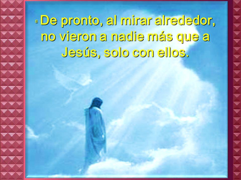 7 Vino entonces una nube que los cubrió y se oyó una voz desde la nube: – Éste es mi Hijo amado; escuchadlo.