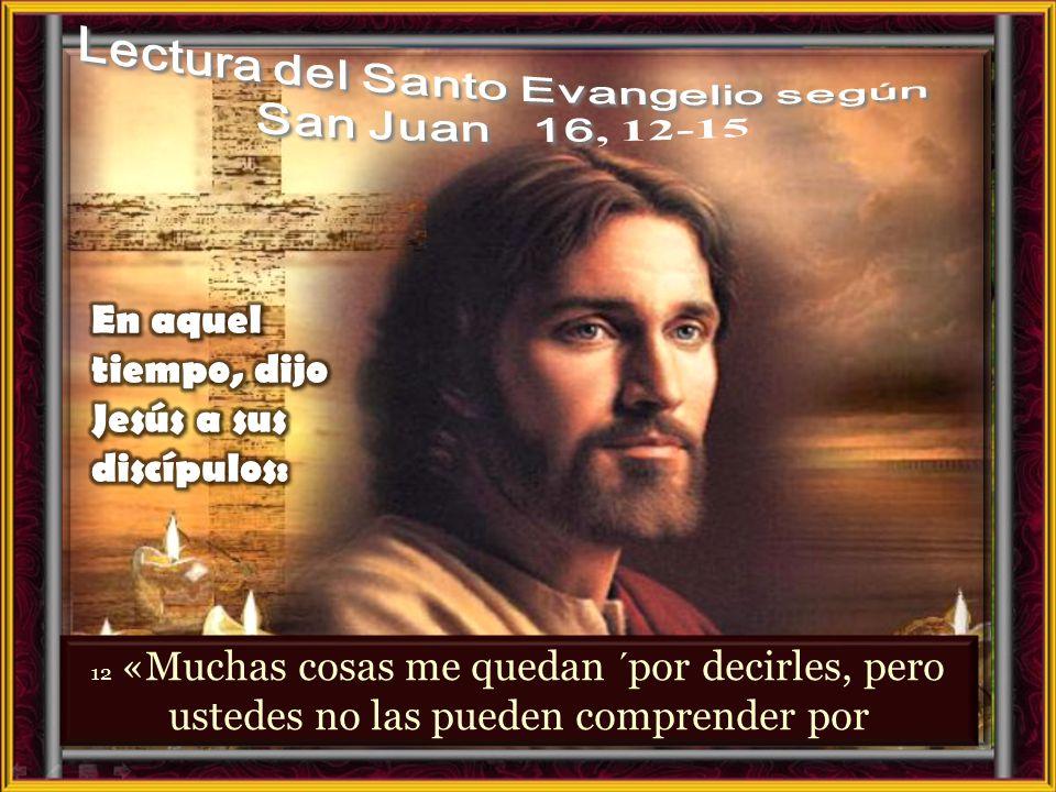 I. LECTIO ¿Qué dice el texto? – Juan 16, 12- 15 Motivación: Este texto es uno de los anuncios sobre el envío del Espíritu Santo. El Espíritu ha ayudad