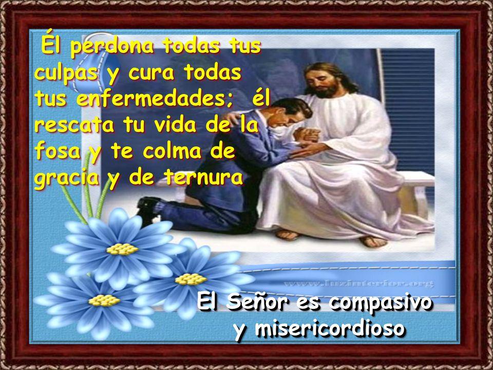Salmo 102 Bendice, alma mía, al Señor, y todo mi ser a su santo nombre. Bendice, alma mía, al Señor, y no olvides sus beneficios El Señor es compasivo