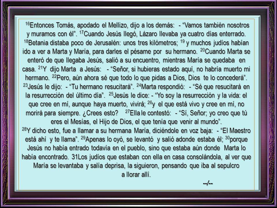 ( Del Evangelio según san Juan ) Jn 11: 1-45 1 En aquel tiempo, había un hombre, enfermo que se llamaba Lázaro, natural de Betania, el pueblo de María y de su hermana Marta.