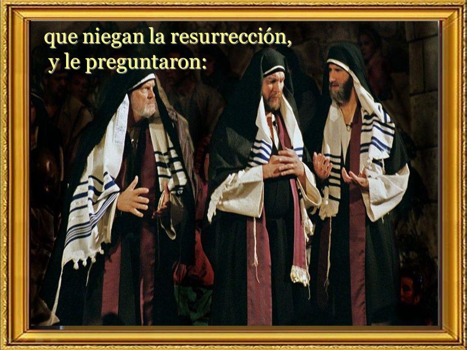 que niegan la resurrección, y le preguntaron: