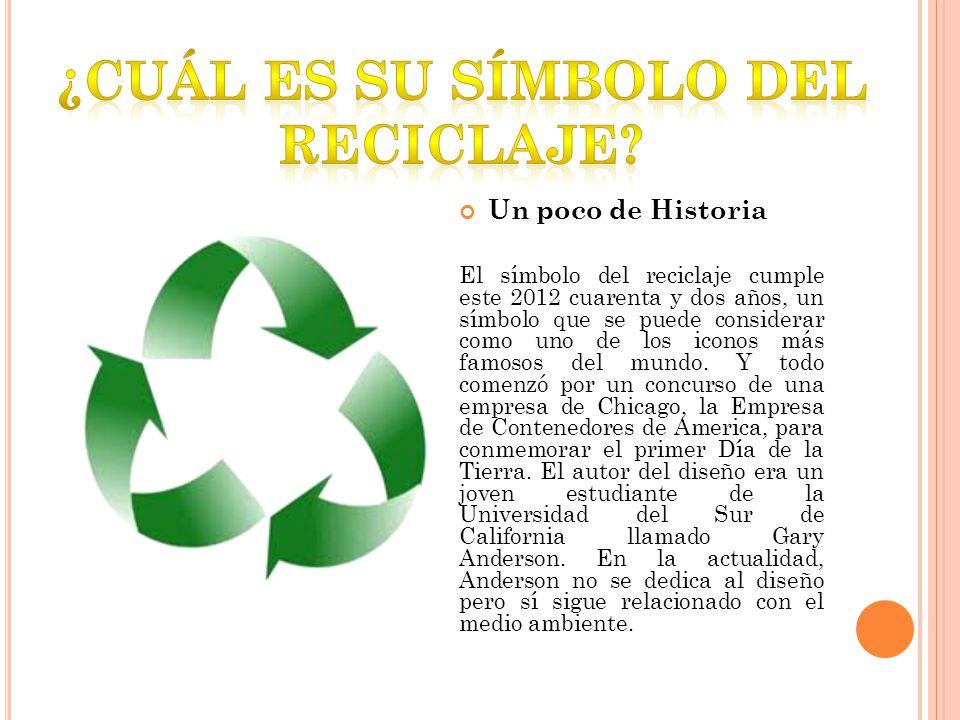Un poco de Historia El símbolo del reciclaje cumple este 2012 cuarenta y dos años, un símbolo que se puede considerar como uno de los iconos más famosos del mundo.