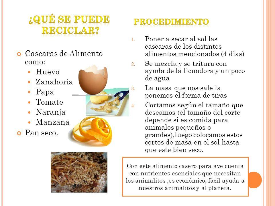 Cascaras de Alimento como: Huevo Zanahoria Papa Tomate Naranja Manzana Pan seco. 1. Poner a secar al sol las cascaras de los distintos alimentos menci