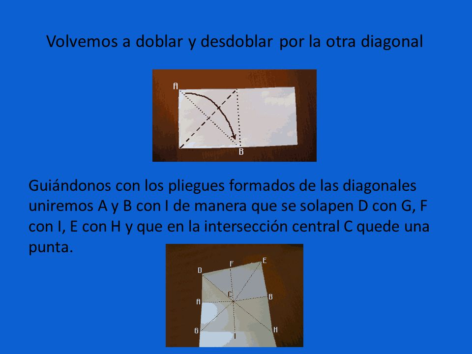 Volvemos a doblar y desdoblar por la otra diagonal Guiándonos con los pliegues formados de las diagonales uniremos A y B con I de manera que se solape