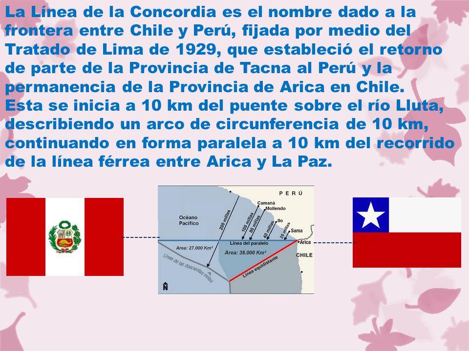 La Línea de la Concordia es el nombre dado a la frontera entre Chile y Perú, fijada por medio del Tratado de Lima de 1929, que estableció el retorno d